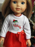 Wellie Wishers Doll Holiday Tutu Snowman Dress