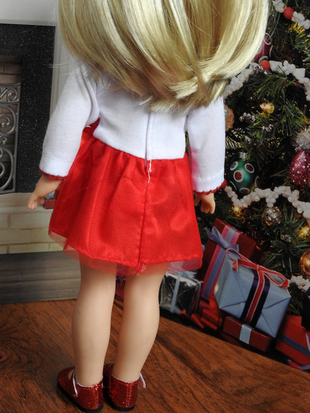 14 Inch Doll Holiday Tutu Snowman Dress fits Wellie Wishers Doll