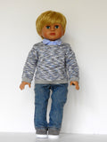 18 Inch Boy Doll Sweatshirt, Button Up Oxford Shirt, and Jeans