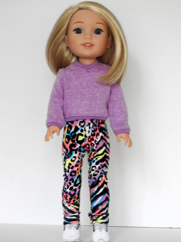Wellie Wishers Doll Handmade Sweatshirt, Leggings, Sneakers
