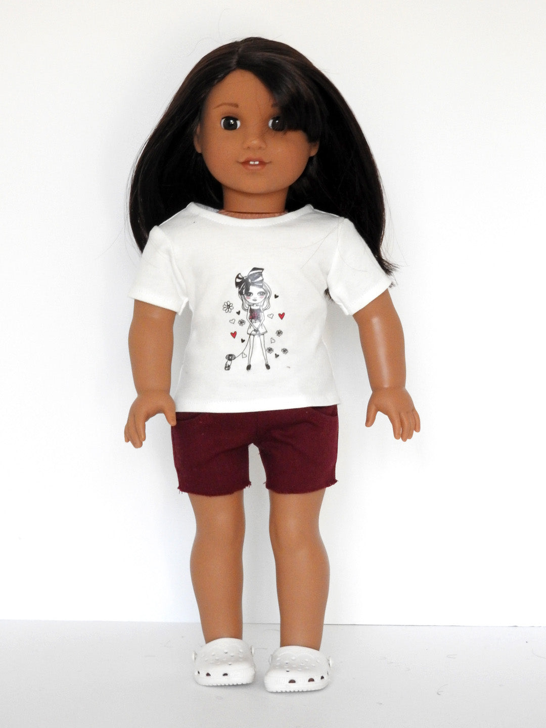 American Girl doll graphic t-shirt and Cut-off shorts