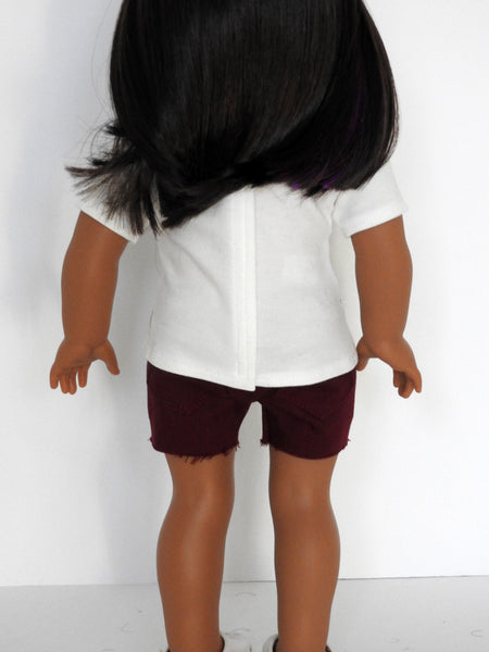 18 Inch Doll Graphic T-Shirt and Cut-Off Shorts