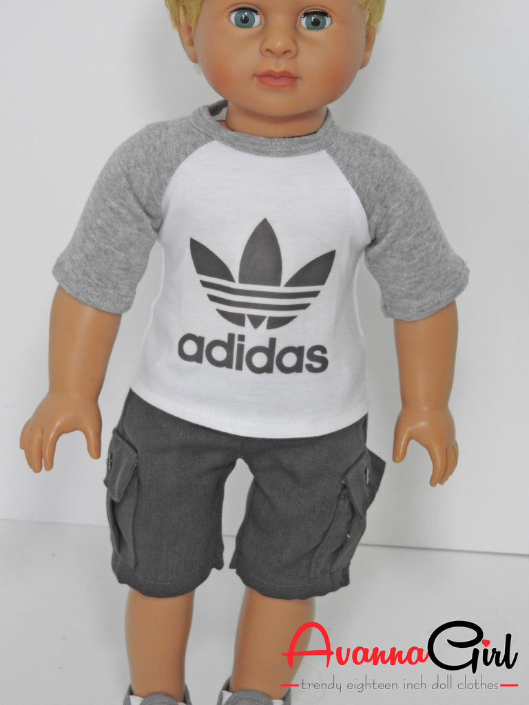 18 inch boy doll shorts and tee