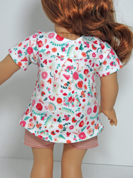 18 Inch Doll Trendy Hi-Lo Top and Cut-Off Shorts