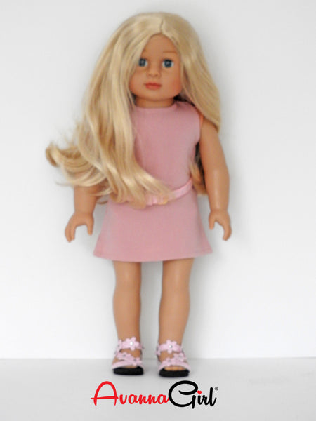 18 Inch Girl Doll with Dress, Shoes, and Belt