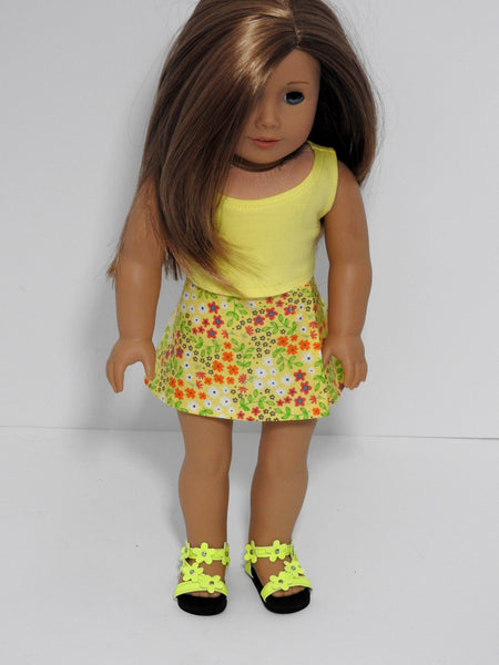 18 Inch Doll Wrap Skirt, Crop Top, Sandals for American Girl Doll