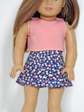 18 Inch Doll Wrap Skirt, Crop Top Handmade for American Girl Doll