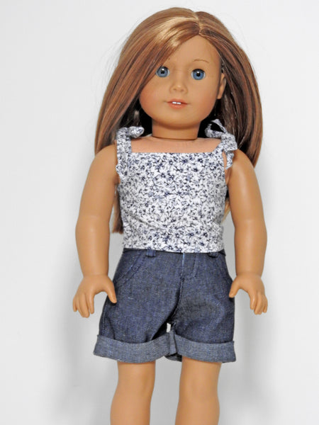 "18"" Doll Denim Shorts and Top for American Girl Doll"