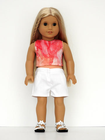 18 Inch Doll Tie Dye Top, Shorts Handmade for American Girl Doll