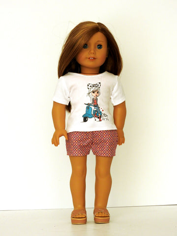 18 Inch Doll Graphic T-Shirt, Shorts Handmade for American Girl Doll