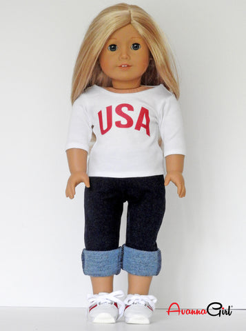 American Girl Doll Handmade USA T-Shirt, Denim Jeggings, Sneakers