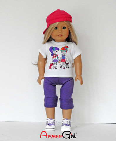 18 Inch Doll Graphic T-Shirt, Capris, Hat, Shoes