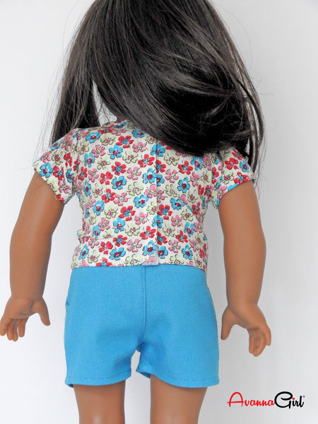 AG Doll Floral Top, Denim Shorts Handmade for American Girl Doll