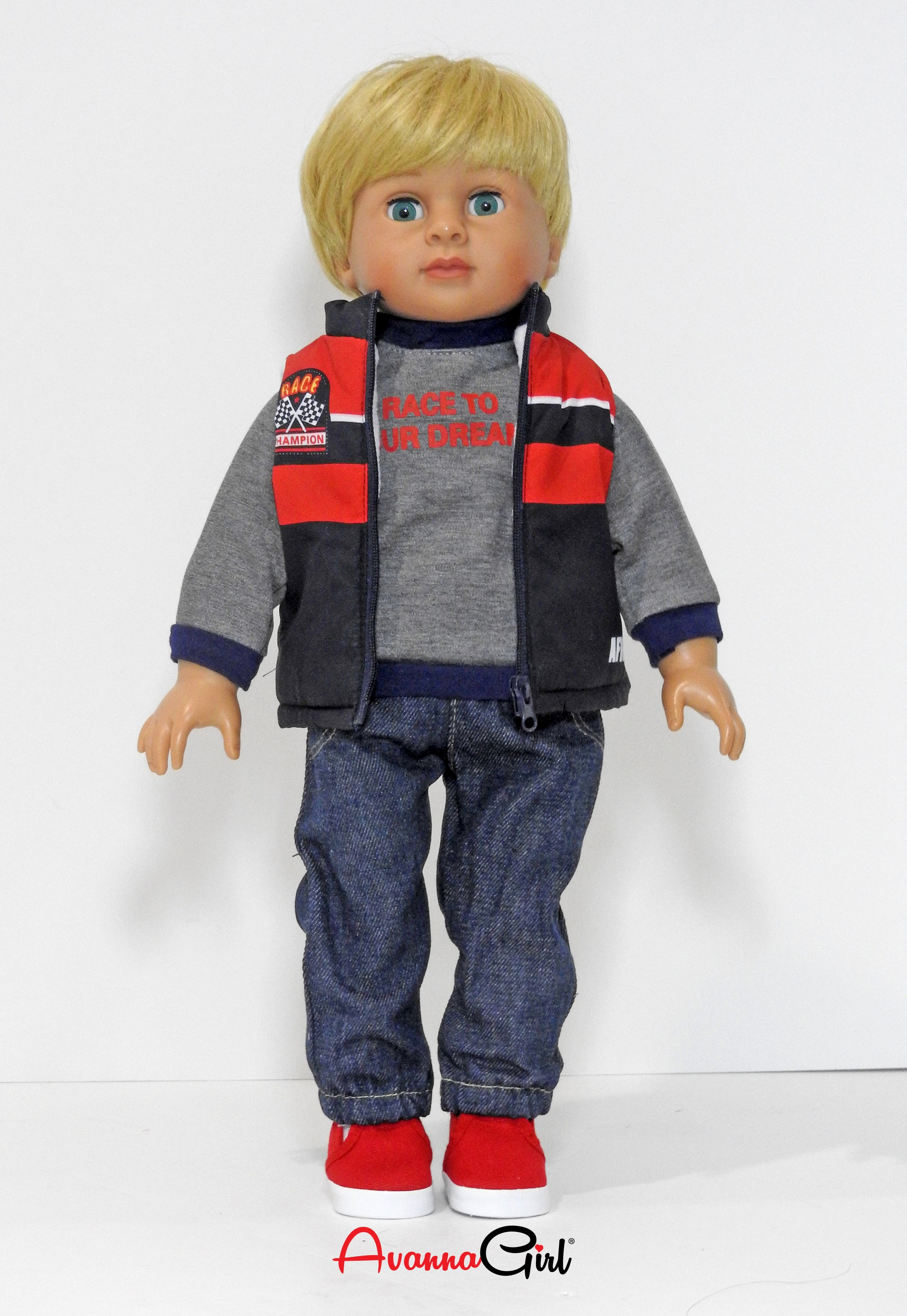 18 Inch Boy Doll Puffer Vest, Sweatshirt, Pants, and Sneakers