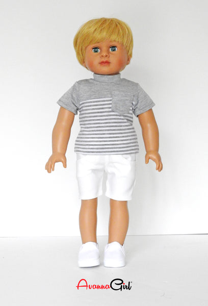 18 Inch Boy Doll Striped T-Shirt, Shorts, and Sneakers fits AG Boy Logan Doll
