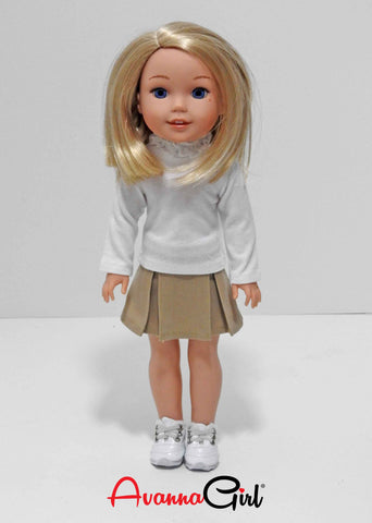14.5 Inch Doll Back to School Uniform and Shoes fits Wellie Wishers Doll