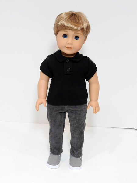 18 Inch Boy Doll Black Polo Shirt and Corduroy Pants