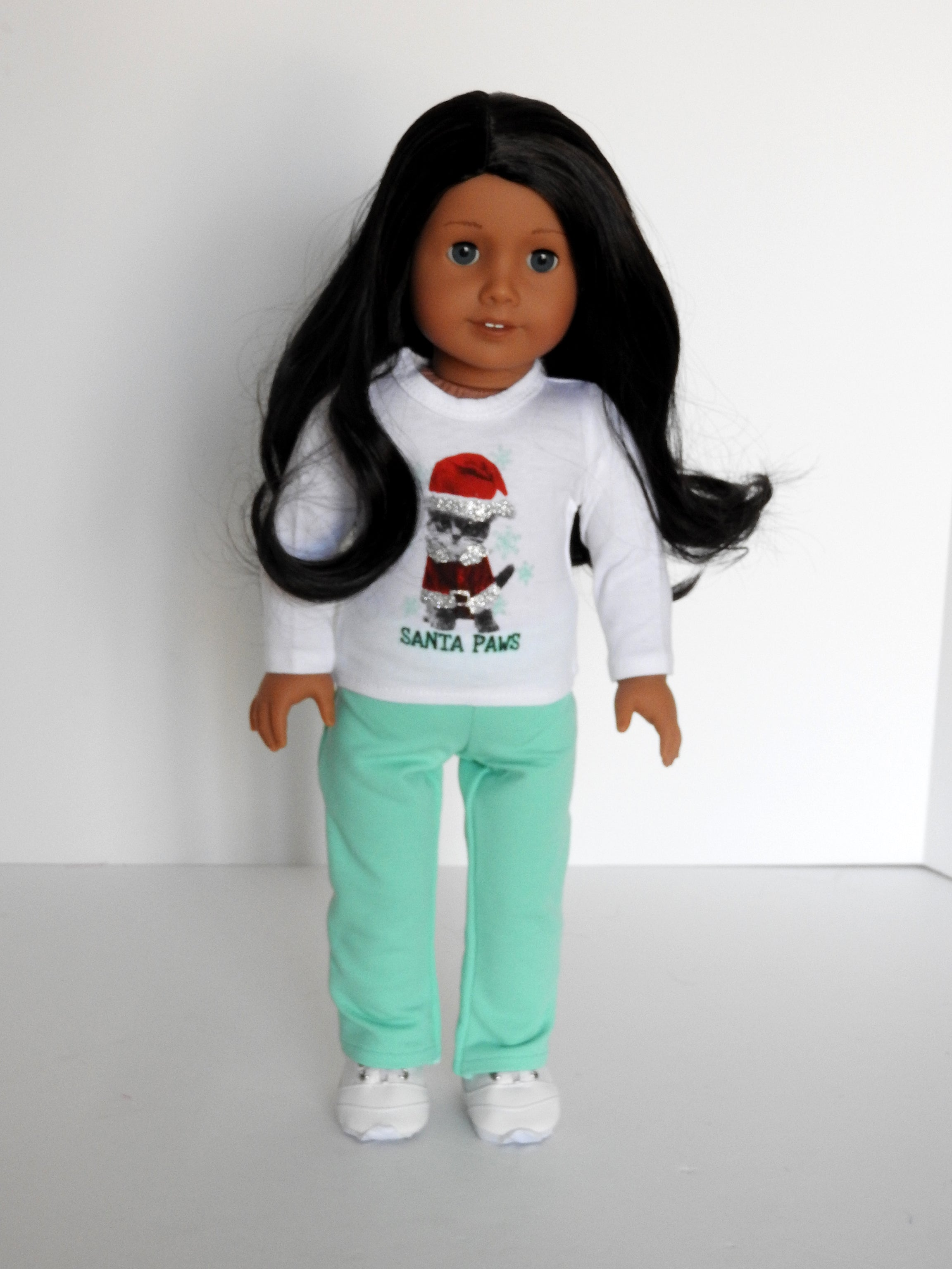 18 Inch Doll  Santa Graphic Top, Yoga Pants, Shoes fits American Girl Doll