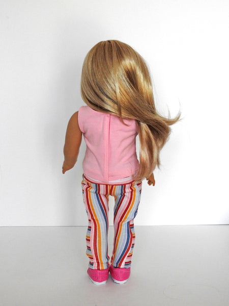 18 Inch Doll Geo Leggings, Tank Top, Sneakers Handmade for American Girl Doll