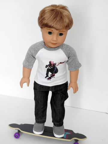 18 Inch Boy Doll Graphic T-Shirt, Jeans, and Sneakers fits AG Boy Doll