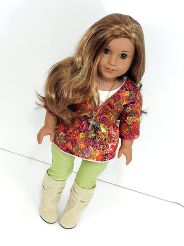 Trendy AG Doll Clothes Handmade 3 Piece Outfit - Skinny Jeans, Tunic Top, Tank Top