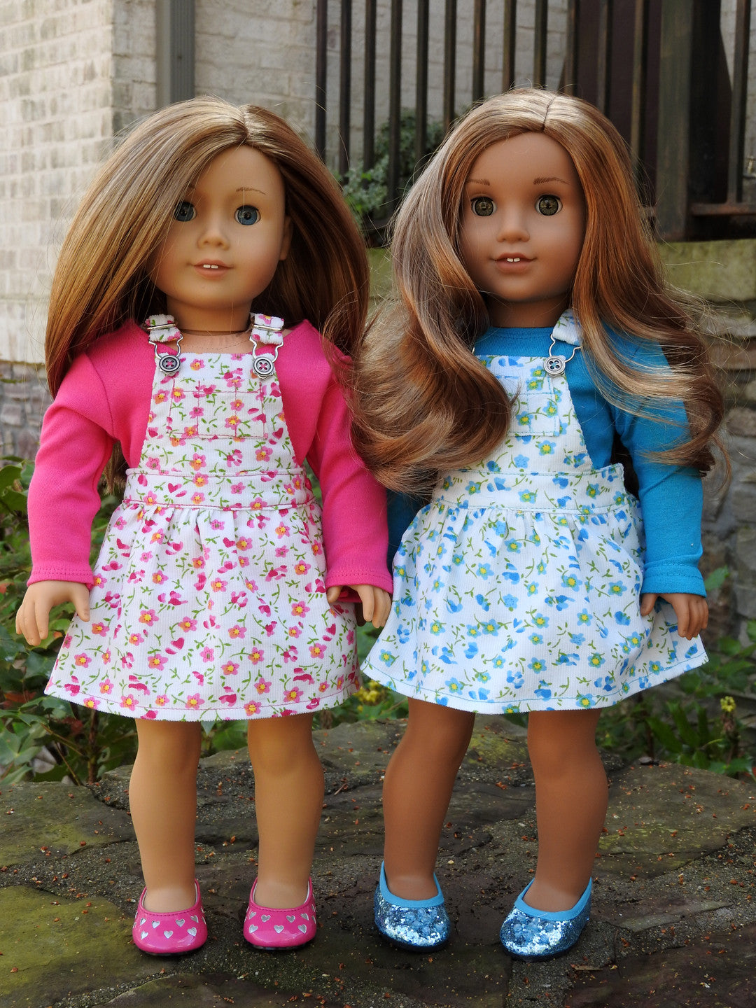 18 Inch Doll Clothes, AG Doll Dress - Trendy Overall Dress and T-Shirt for American Girl Doll