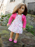 18 Inch Doll Clothes, AG Doll Dress - Trendy Overall Dress and T-Shirt for Ameri