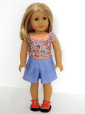 American Girl Doll Handmade Shorts and Crop Top