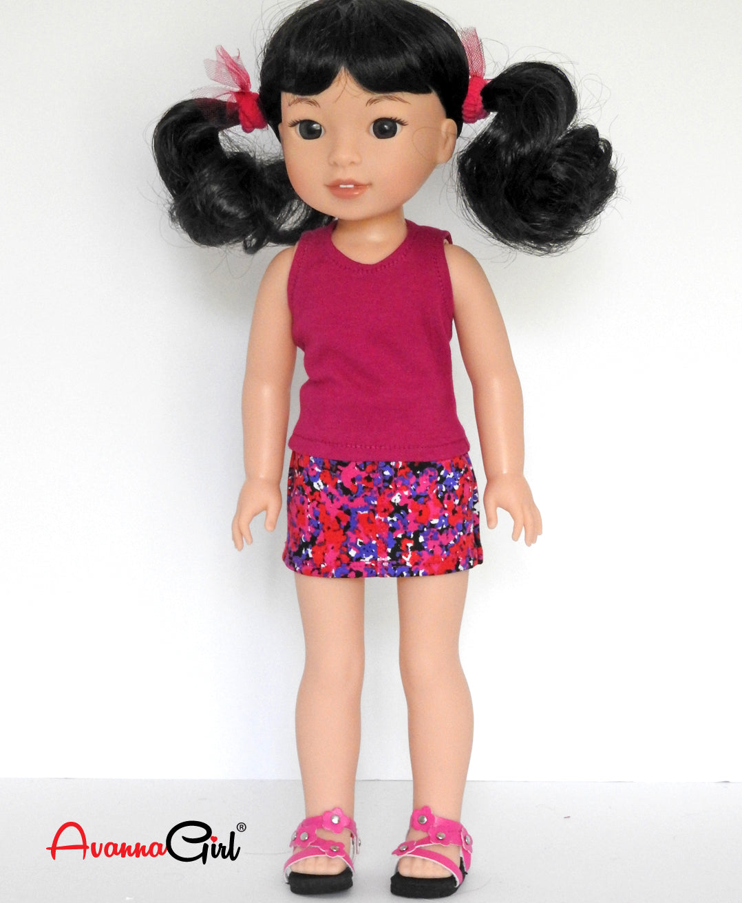 14 Inch Doll Tank Top and Floral Denim Mini Skirt fits Wellie Wishers Doll