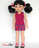 14.5 inch Doll Clothes Tank Top and Floral Denim Mini Skirt fits Wellie Wishers Doll