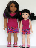 American Girl Doll Clothes Handmade Tank Top and Floral Denim Mini Skirt