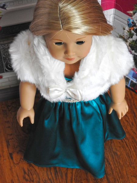 American Girl Doll Formal Silk Dress and Faux Fur