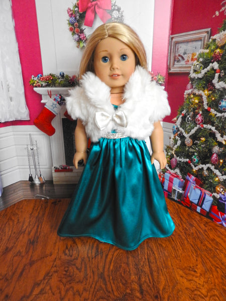 American Girl Doll Formal Dress and Faux Fur