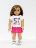AG Doll Clothes Graphic Tee, Button Front Denim Mini Skirt and Hi Top Shoes