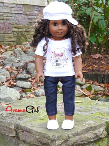 American Girl Doll Handmade Graphic T-Shirt, Denim Capris, and Hat