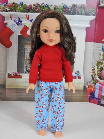 Hearts for Hearts Doll Handmade Candy Cane PJ'S, 14 Inch Doll Pajamas