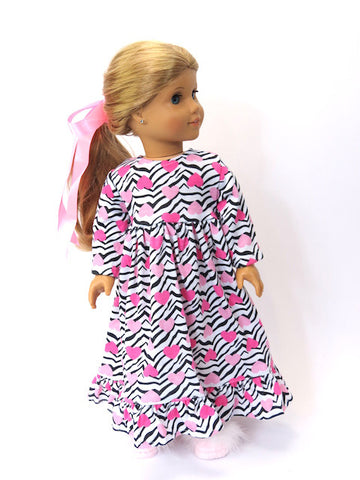 18 Inch Doll Hearts and Zebra Nightgown