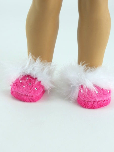 18 Inch Doll Hot Pink Rhinestone Houseslippers