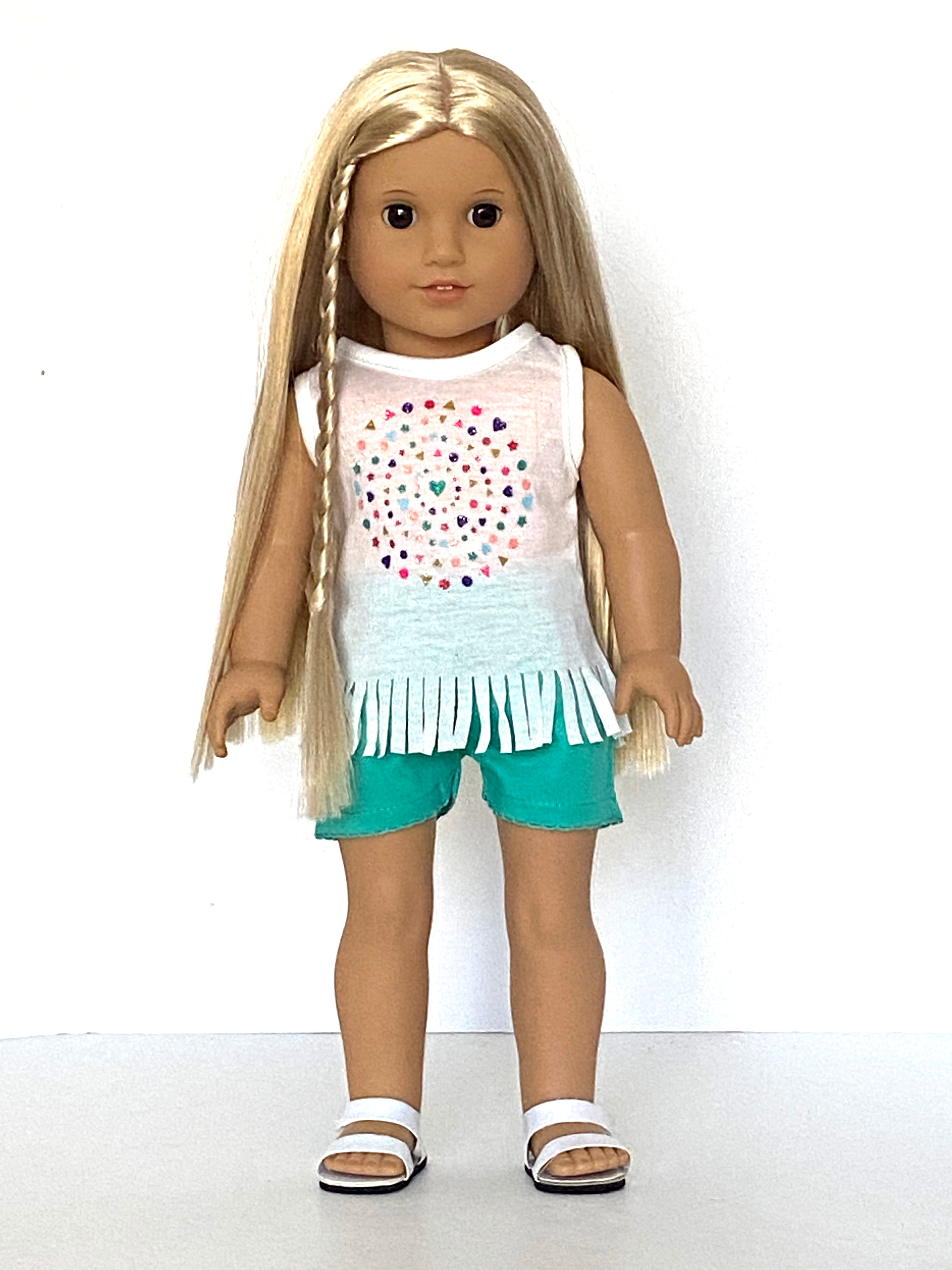 18 Inch Doll Graphic Fringed T-Shirt and Shorts  for American Girl Doll