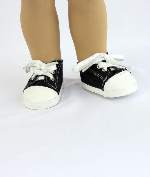 Black Sneakers for American Girl Doll, 18 Inch Dolls