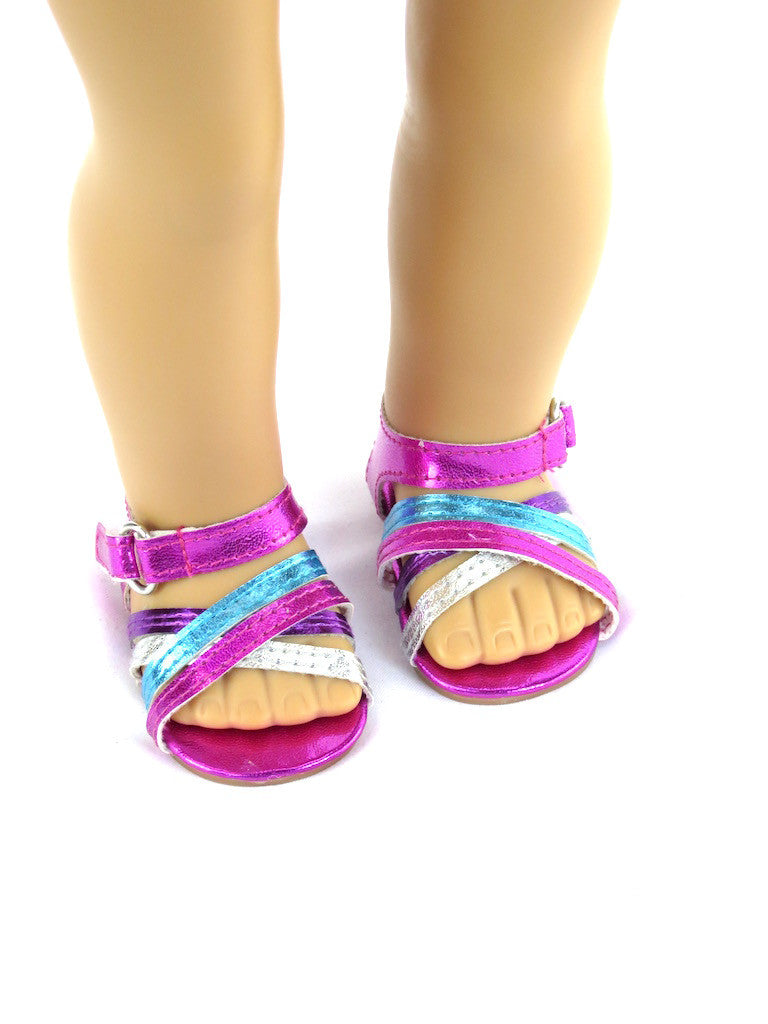 Metallic Three Color Sandal for American Girl Doll