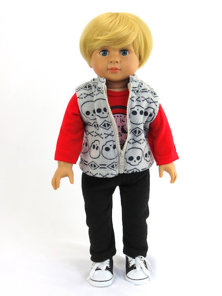 18 Inch Boy Doll Dressed in 3 Piece Outfit and Sneakers