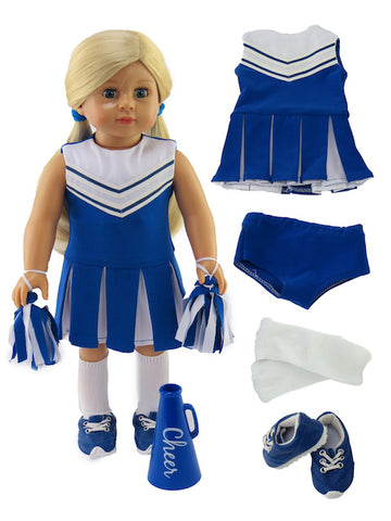 18 Inch Doll 6 Piece Blue and White Cheerleader Outfit and Accessories for American Girl Doll