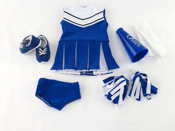 18 Inch Doll 6 Piece Blue and White Cheer Outfit and Accessories for American Girl Doll
