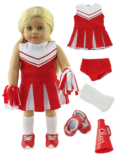 18 Inch Doll 6 Pc Cheer Outfit, Accessories, Various Colors for American Girl Doll