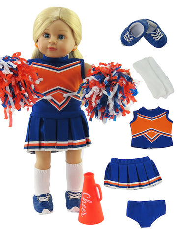 18 Inch Doll 6 Piece Blue and Orange Cheerleader Outfit and Accessories for American Girl Doll