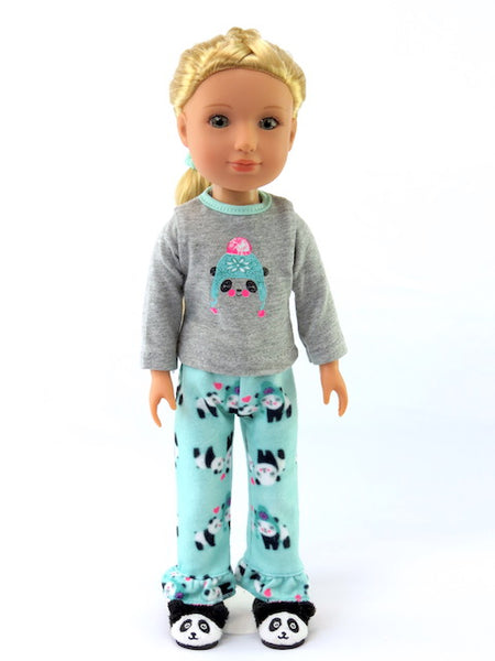14 INCH DOLL Panda Pajamas and Slippers fits Wellie Wishers Doll, Glitter Girls Dolls