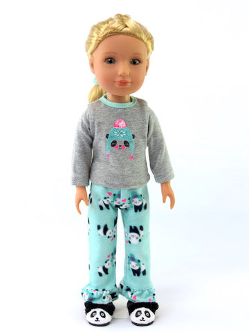 14 INCH DOLL Panda Pajamas and Slippers fits Wellie Wishers Doll, Glitter Girls