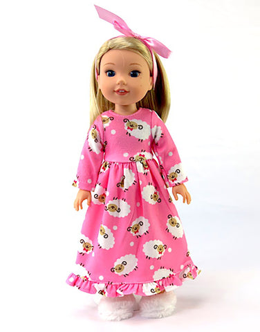 14.5 Inch Doll Nightgown, Slippers fits Wellie Wishers Doll