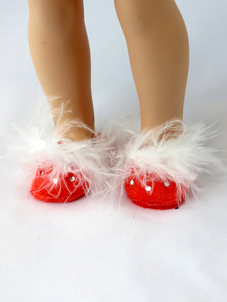 14.5 INCH DOLL Red Rhinestone House Slippers